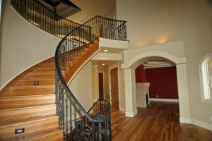 Entry Hall Staircase with Steel railing